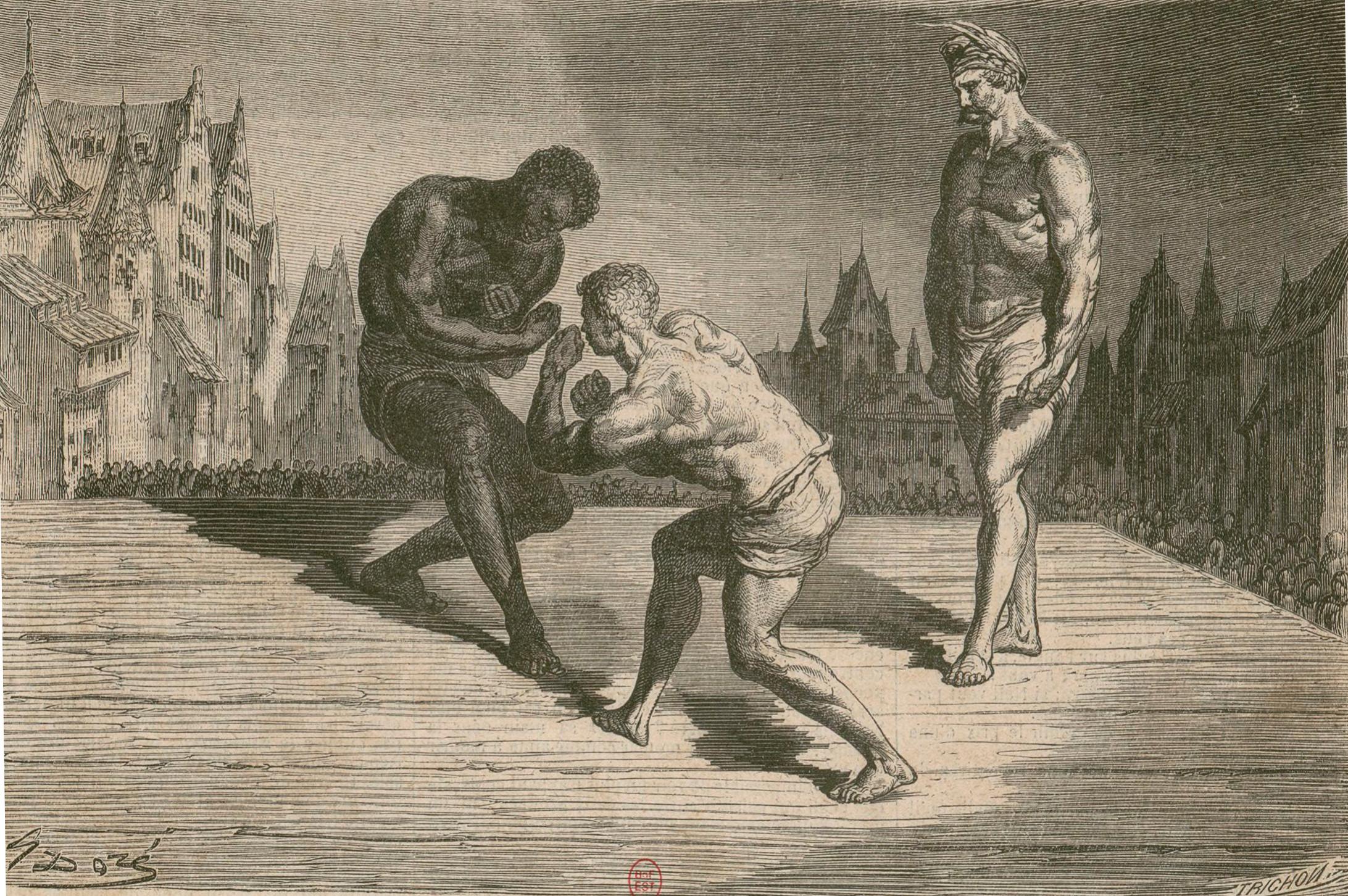 William Carleton – The Dead Boxer, ilustración de Gustave Doré (1855).