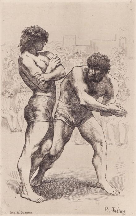 Léon Cladel - Ompdrailles, le Tombeau des lutteurs, ilustración de Rodolphe Julian (1880)