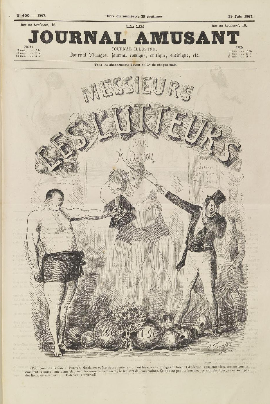 Alfred-Henri Darjou (1832-1874) – Messieurs les lutteurs (1856)