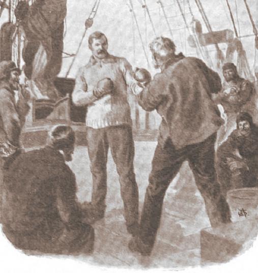 Arthur Conan Doyle boxeando contra el steward a bordo del Hope (1880)
