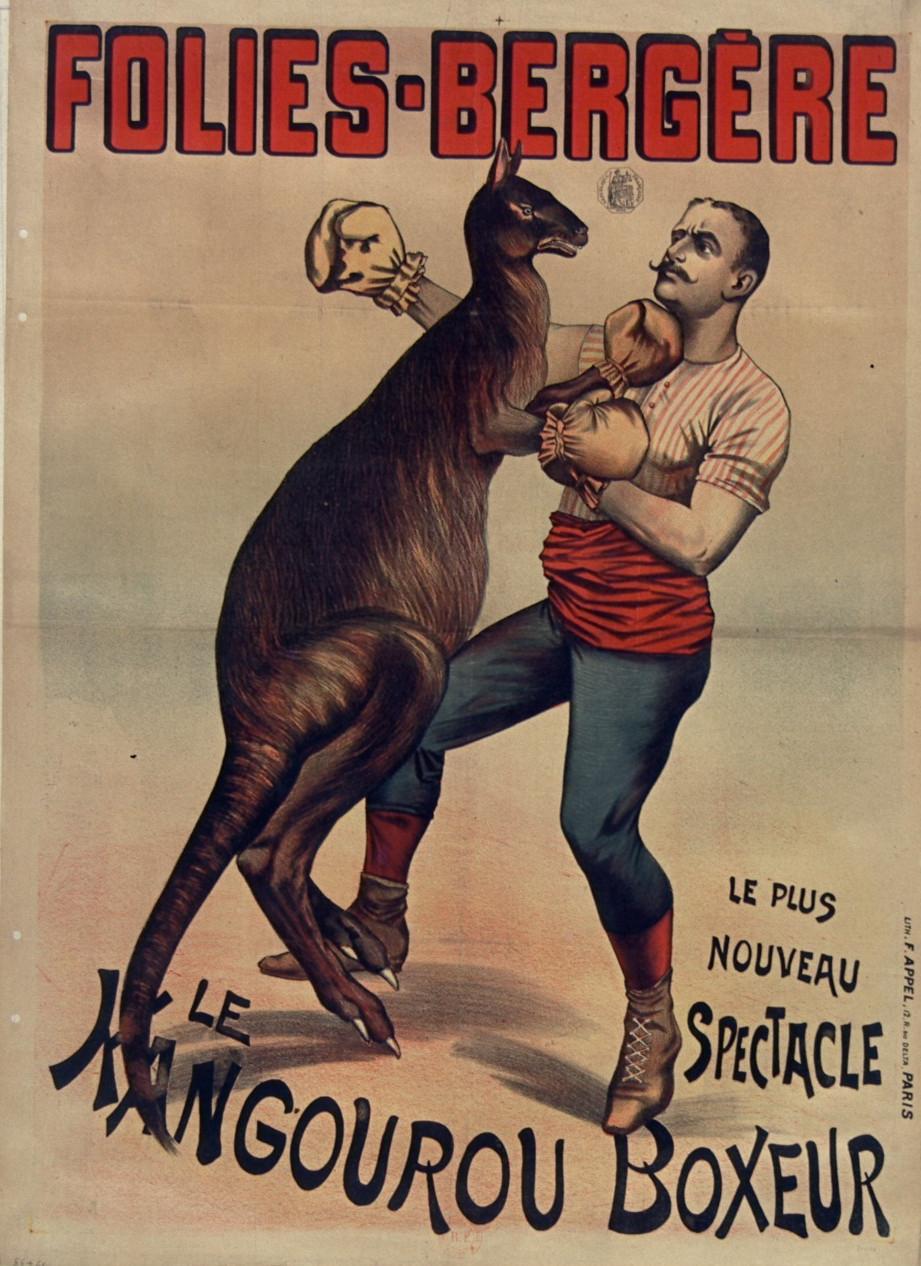 Cartel de un espectáculo de canguro-boxeador en la sala de Folies-Bergères (1895)